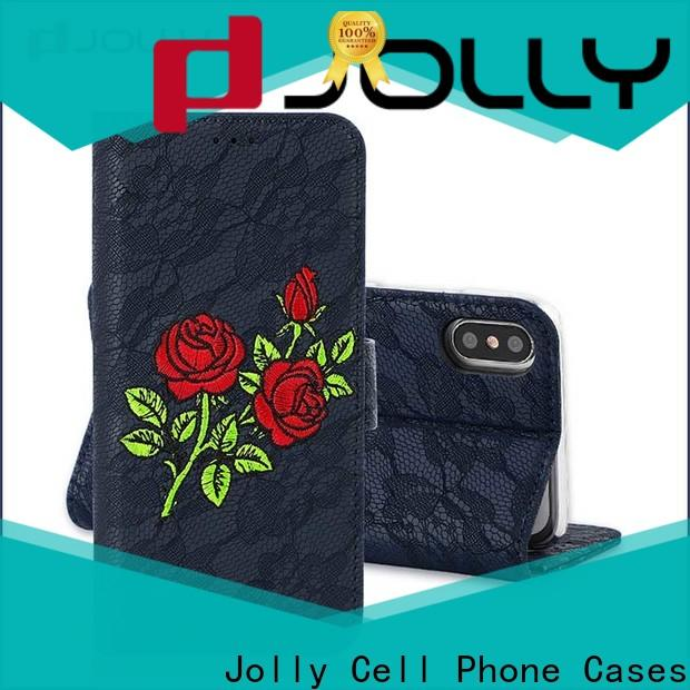 Jolly cell phone wallet with credit card holder for apple