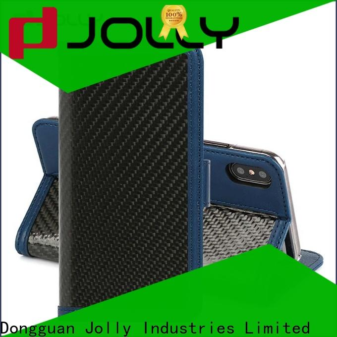 Jolly high quality smartphone wallet case with rfid blocking features for mobile phone