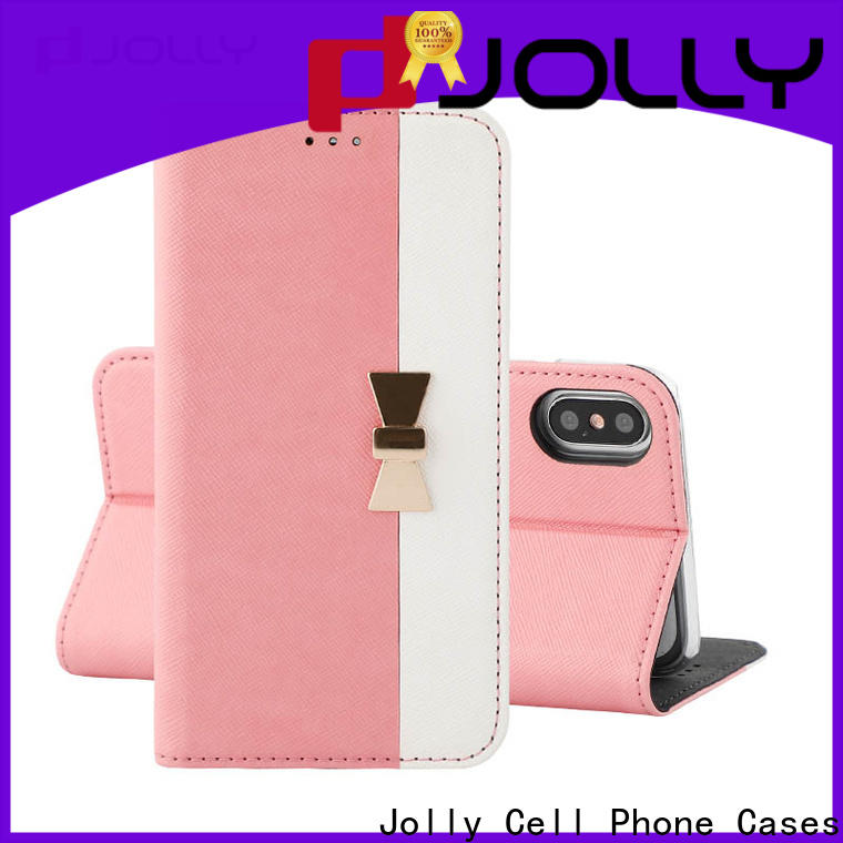 Jolly leather flip phone case with slot kickstand for iphone xs