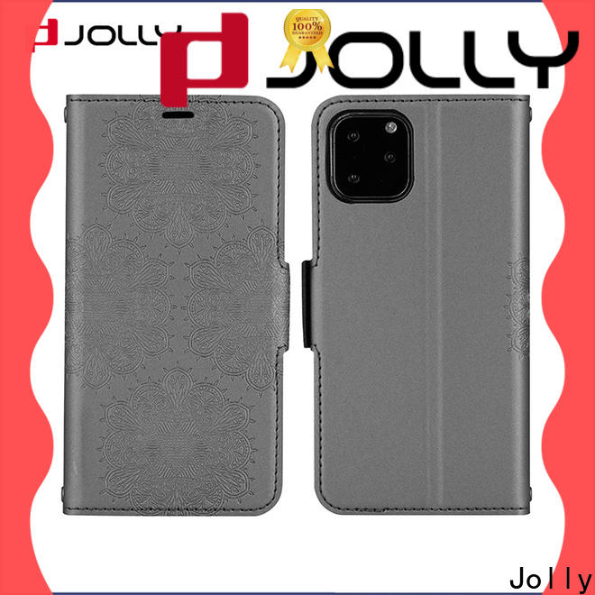 Jolly slim leather flip cell phone case supplier for mobile phone
