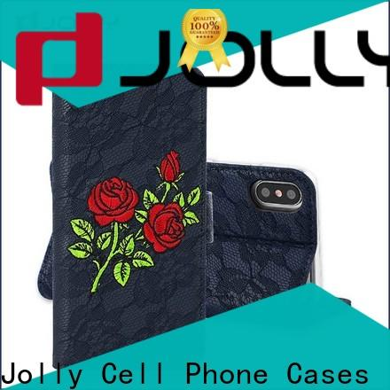 Jolly leather wallet phone case with cash compartment for iphone xs