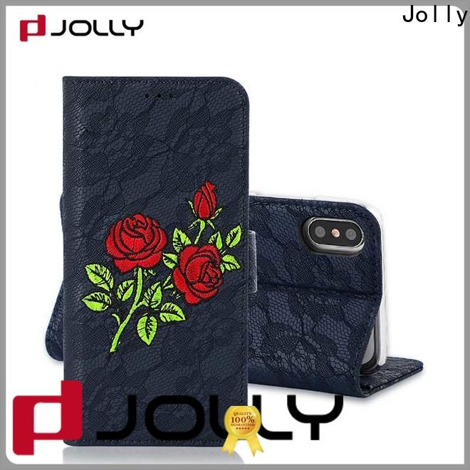 Jolly artificial leather cell phone wallet case for busniess for apple