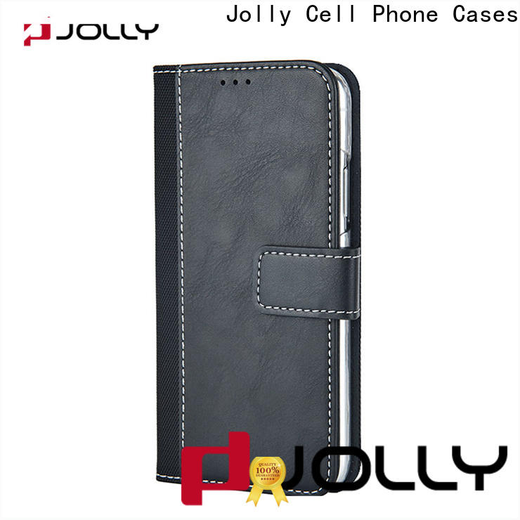 Jolly leather wallet phone case with id and credit pockets for mobile phone