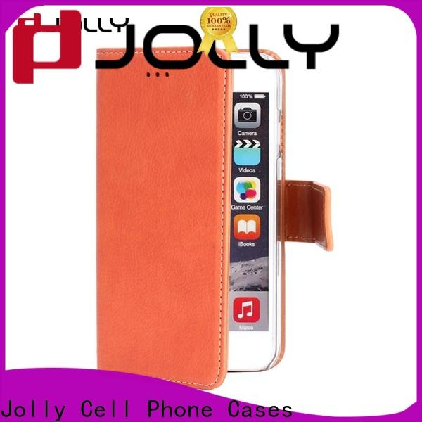 Jolly real carbon fiber wallet style phone case manufacturer for apple