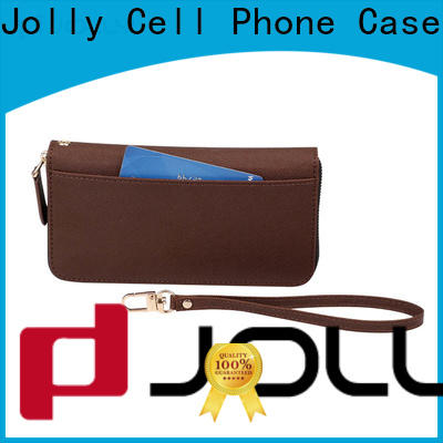 Jolly leather cell phone wallet factory for apple