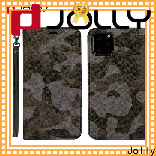 Jolly folio leather phone case with slot kickstand for sale
