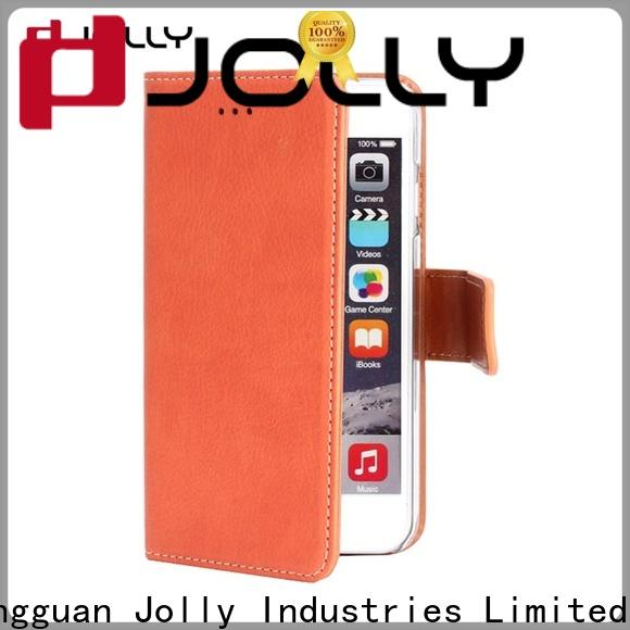 Jolly leather card holder organizer cell phone wallet combination supply for iphone xs
