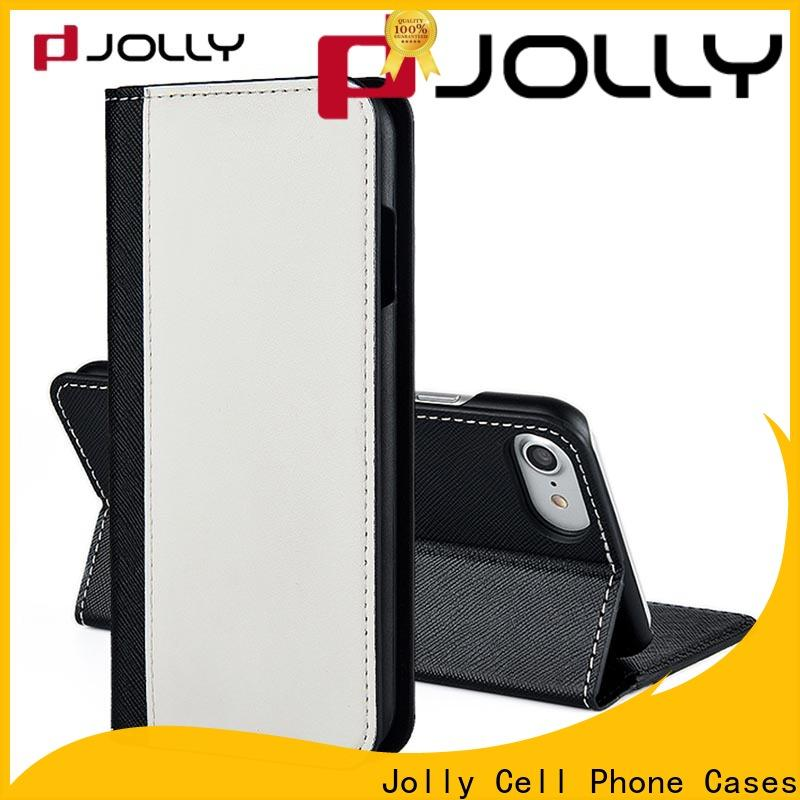 Jolly leather cell phone wallet case with id and credit pockets for iphone xs