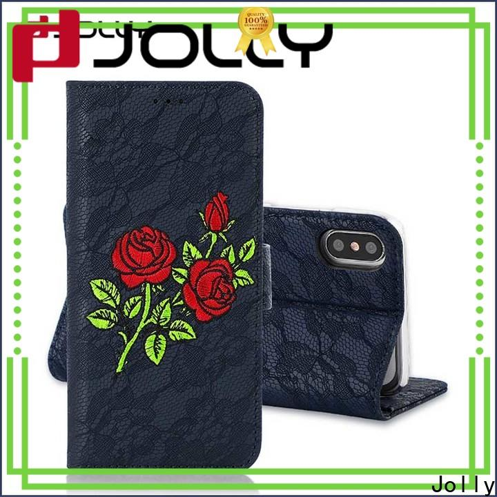 Jolly magnetic wallet phone case company for apple