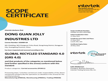 JOLLY Obtains GRS Certificate