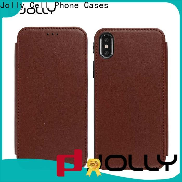 pu leather leather flip phone case with id and credit pockets for iphone xs