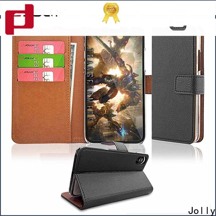 Jolly top leather cell phone wallet case company for sale