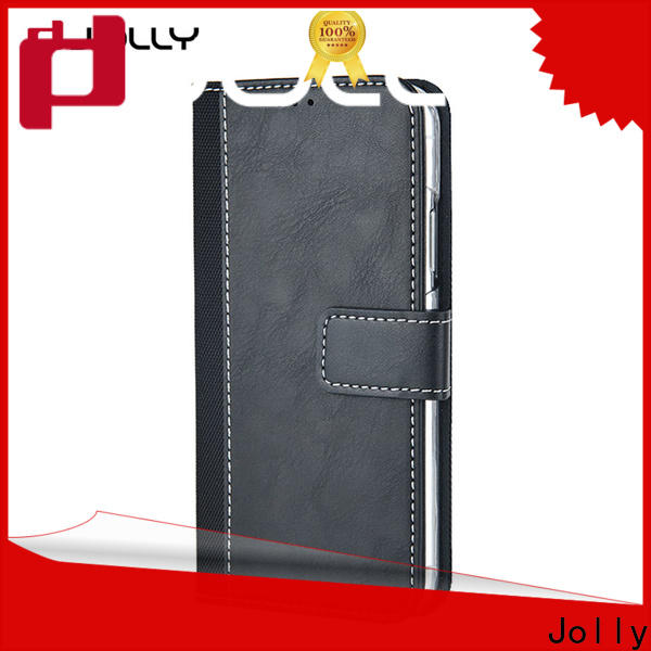Jolly leather cell phone wallet case with id and credit pockets for mobile phone