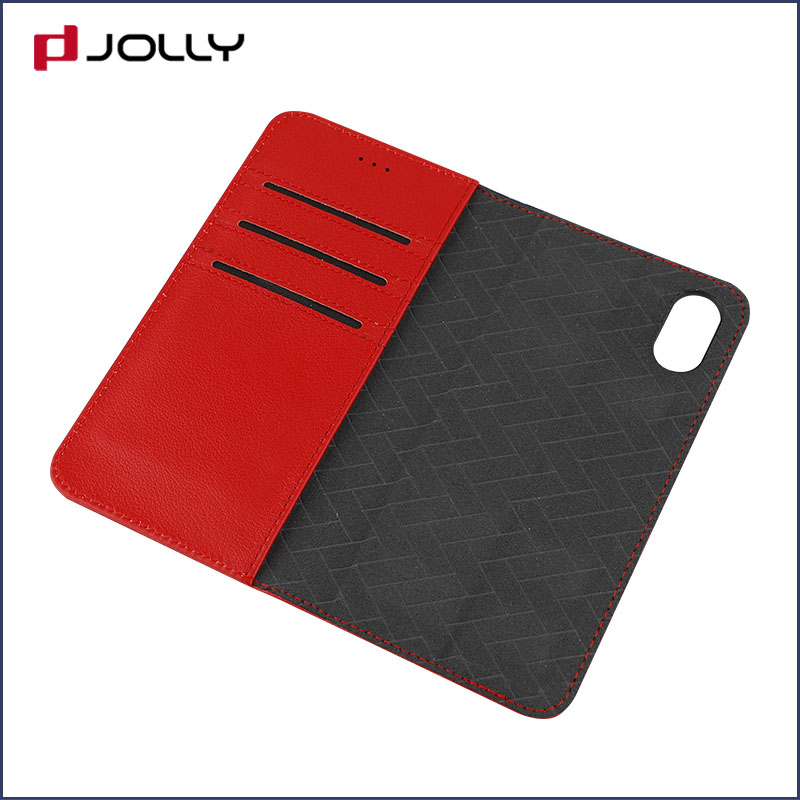 slim leather magnetic detachable phone case with slot kickstand for mobile phone-8