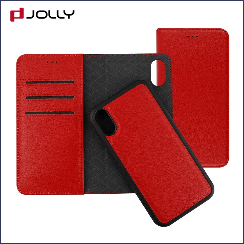 slim leather magnetic detachable phone case with slot kickstand for mobile phone-9