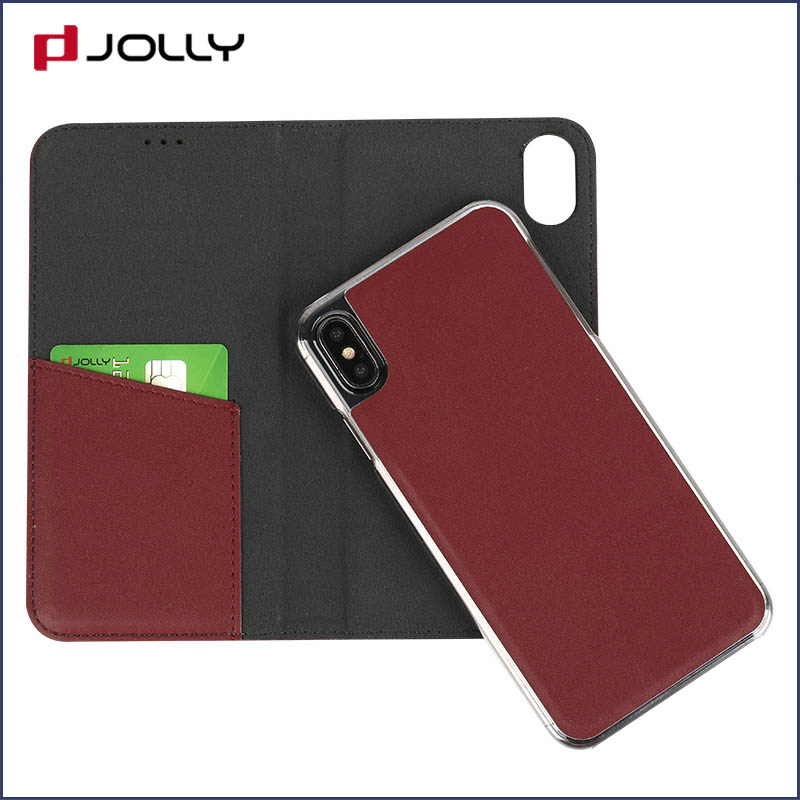 slim leather magnetic phone case with slot kickstand for iphone x-2