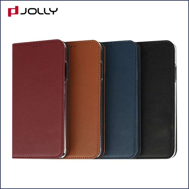 slim leather magnetic phone case with slot kickstand for iphone x-5