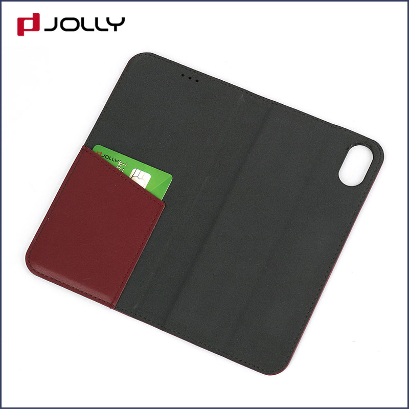 slim leather magnetic phone case with slot kickstand for iphone x-8
