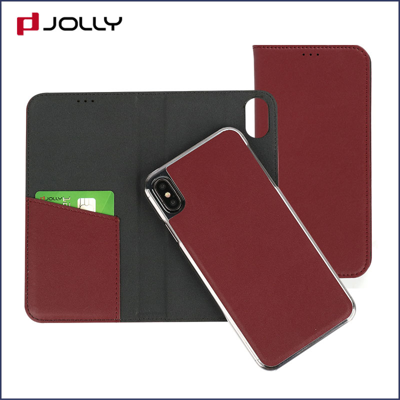 slim leather magnetic phone case with slot kickstand for iphone x-9