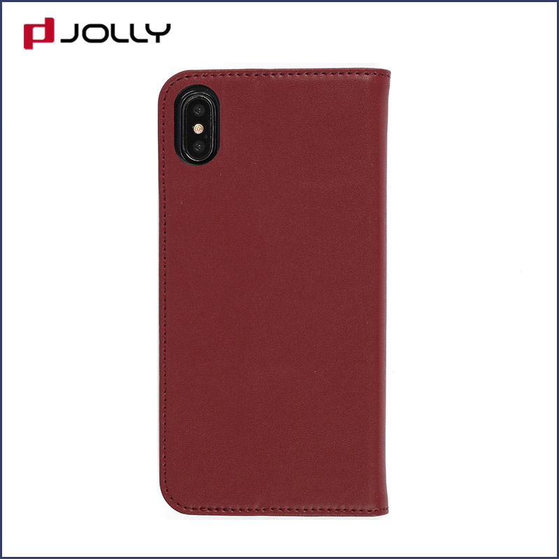 slim leather magnetic phone case with slot kickstand for iphone x-11