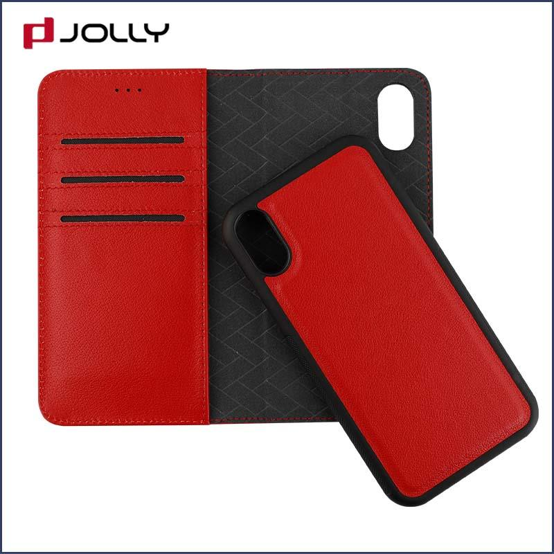 slim leather magnetic detachable phone case with slot kickstand for mobile phone-2