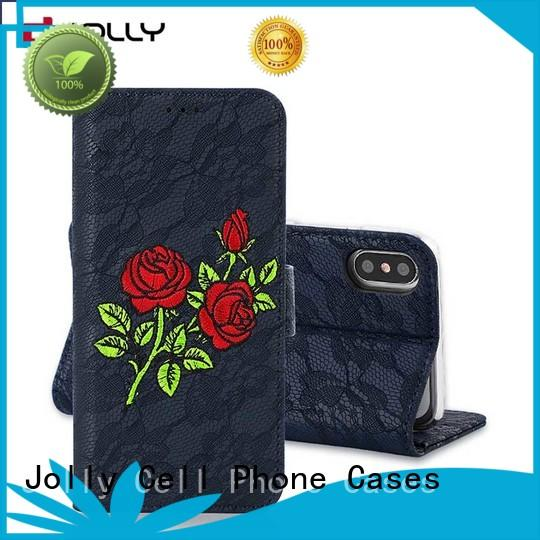 Jolly artificial mobile phone wallets with id and credit pockets for sale