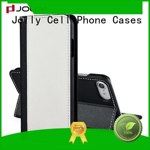 Jolly leather card holder organizer leather wallet phone case with slot for apple