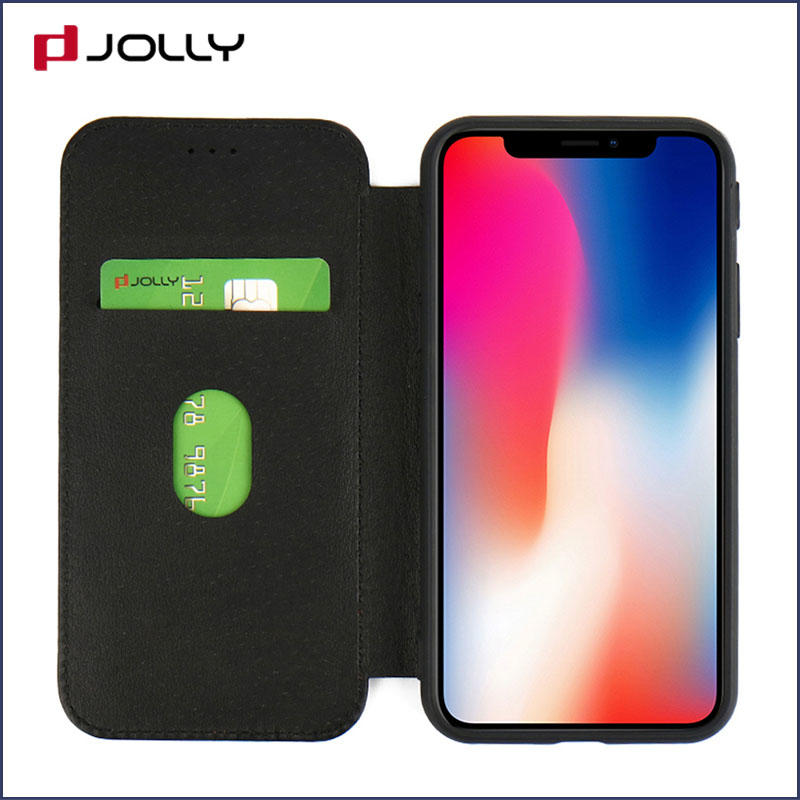 iPhone X Flip Cover, Real Leather Case With Id & Credit Card Pockets DJS0997