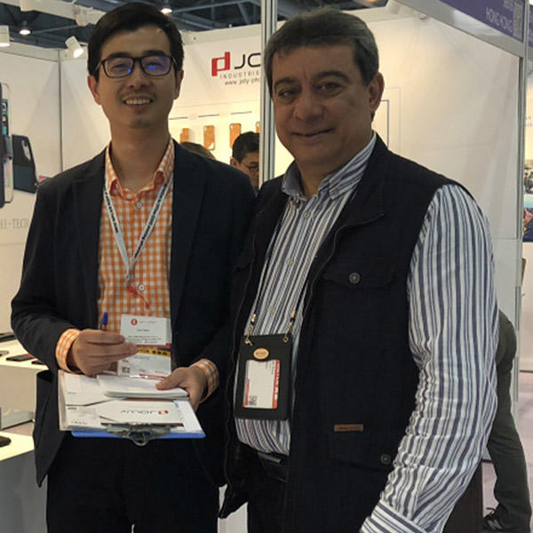 VIP customer visits booth for checking new wallet case designs