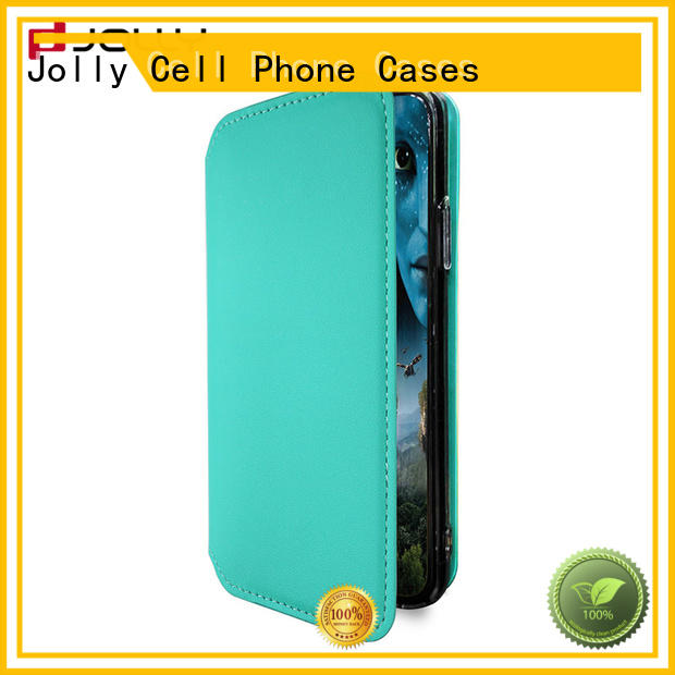Jolly slim leather designer cell phone cases with strong magnetic closure for mobile phone