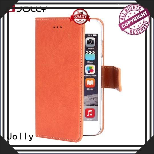 Jolly top leather cell phone wallet case with rfid blocking features for mobile phone