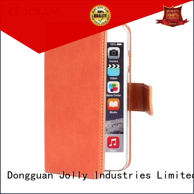 Jolly leather card holder organizer women's cell phone wallet for mobile phone