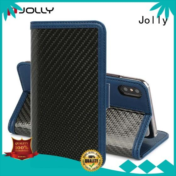 Jolly real carbon fiber zipper phone wallet with slot for apple