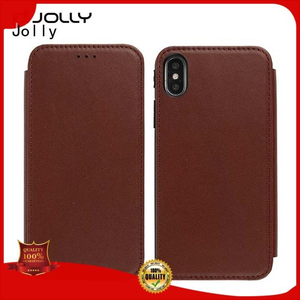 Jolly slim leather cell phone protective covers djs for iphone xs
