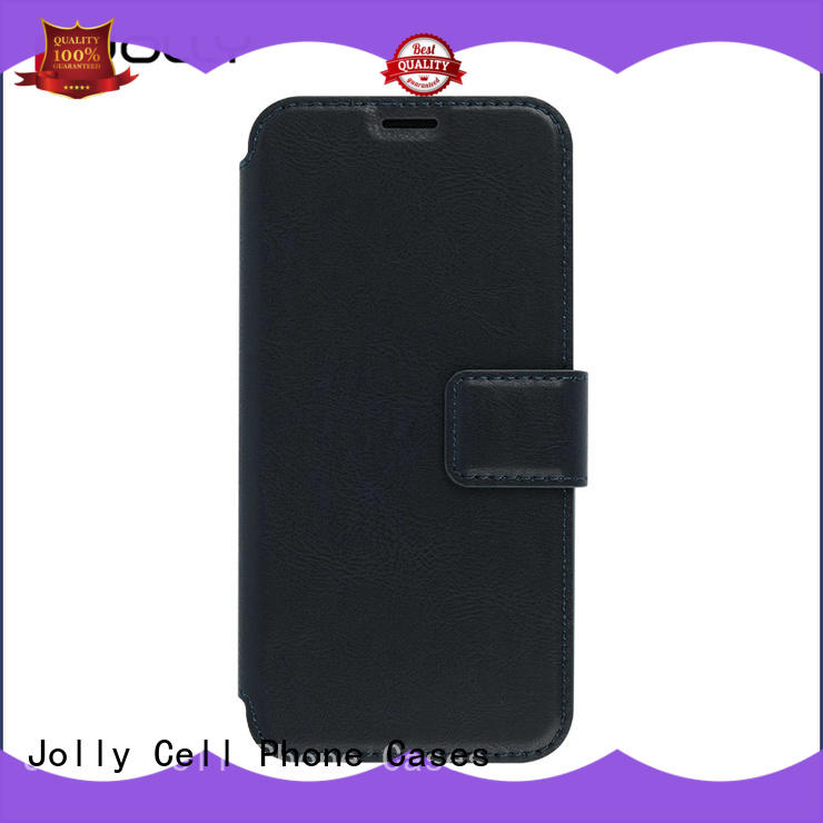 Jolly folio leather flip phone case with slot kickstand for iphone xs