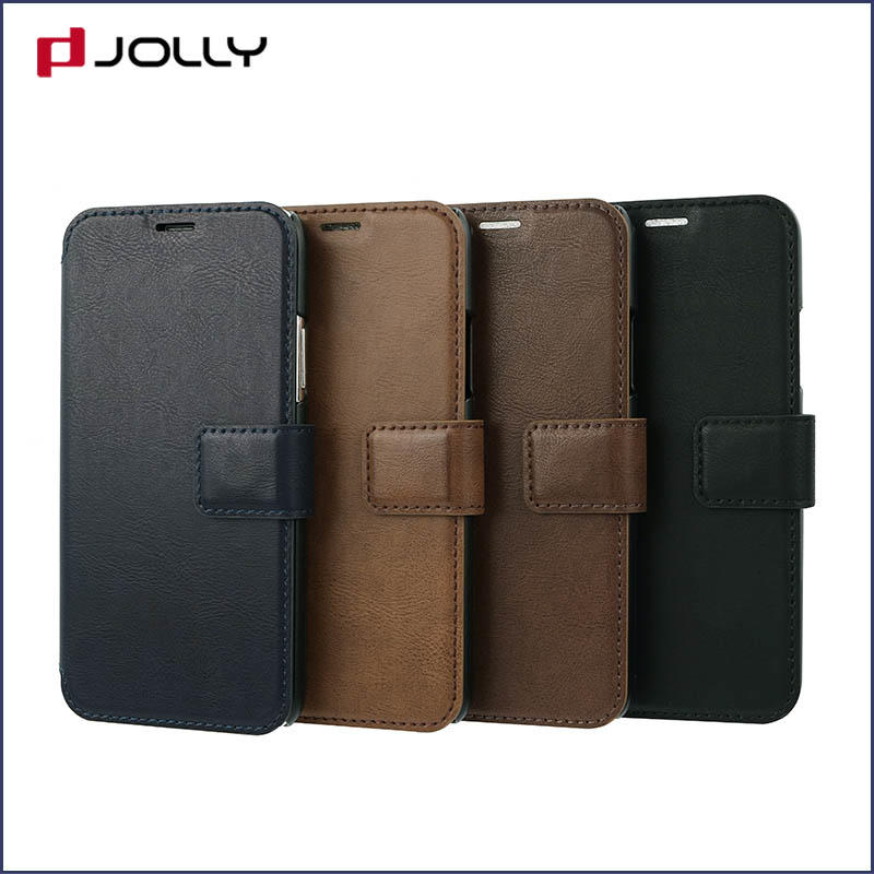 slim leather flip phone case with id and credit pockets for sale-1