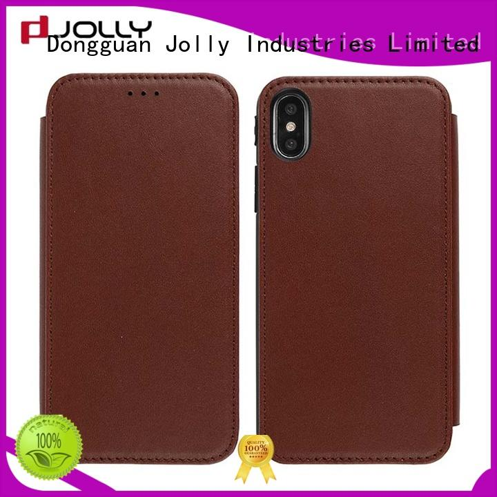 Jolly initial leather flip phone case with strong magnetic closure for iphone xs