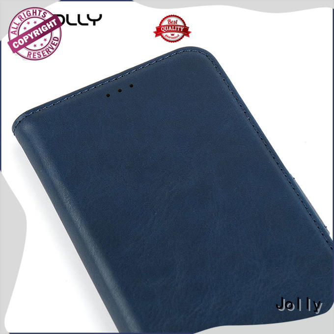 Jolly pu leather leather flip phone case with strong magnetic closure for mobile phone