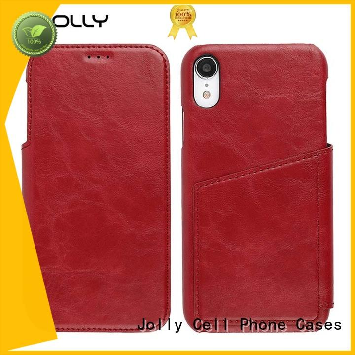 Jolly new leather flip case with slot for iphone xs