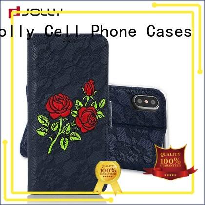 Jolly ladies purse crossbody wallet phone case with cash compartment for apple