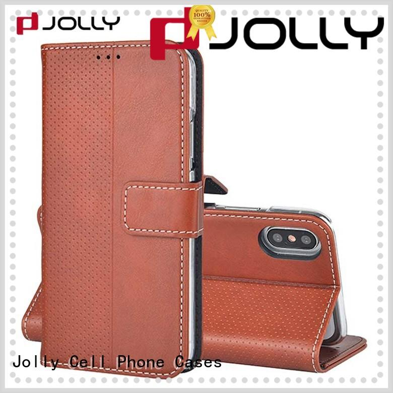 Jolly artificial cell phone wallet wristlet with credit card holder for apple