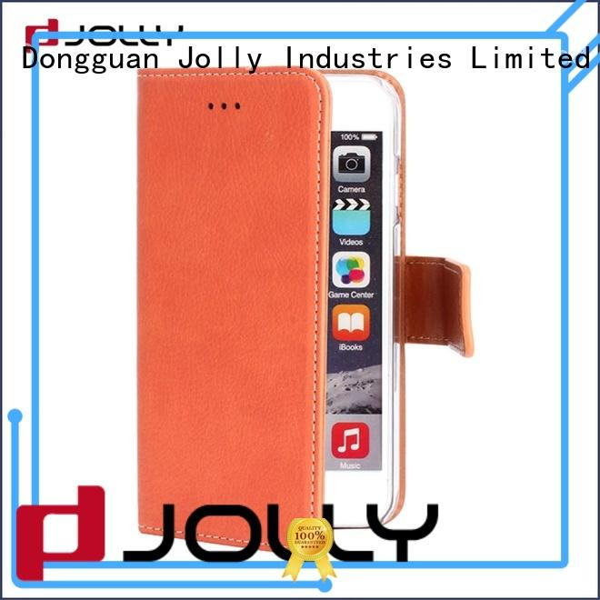 Jolly women leather cell phone wallet with printed pattern cover for apple