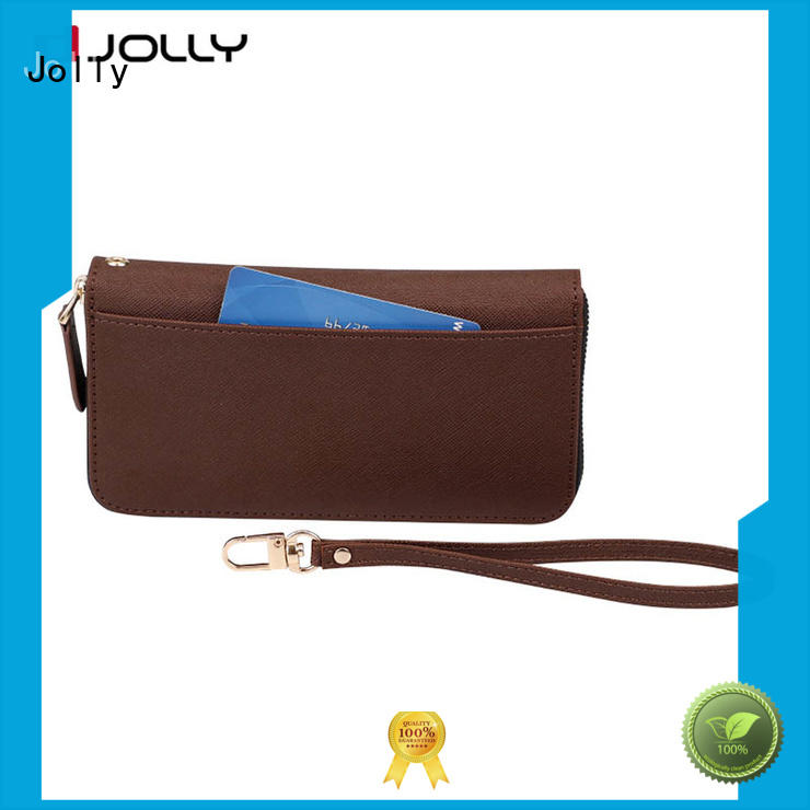 Jolly leather card holder organizer cell phone wallet wristlet supply for mobile phone