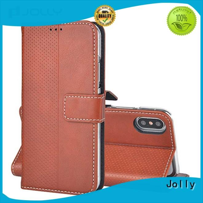 Jolly leather card holder organizer zippered phone wallet with cash compartment for mobile phone