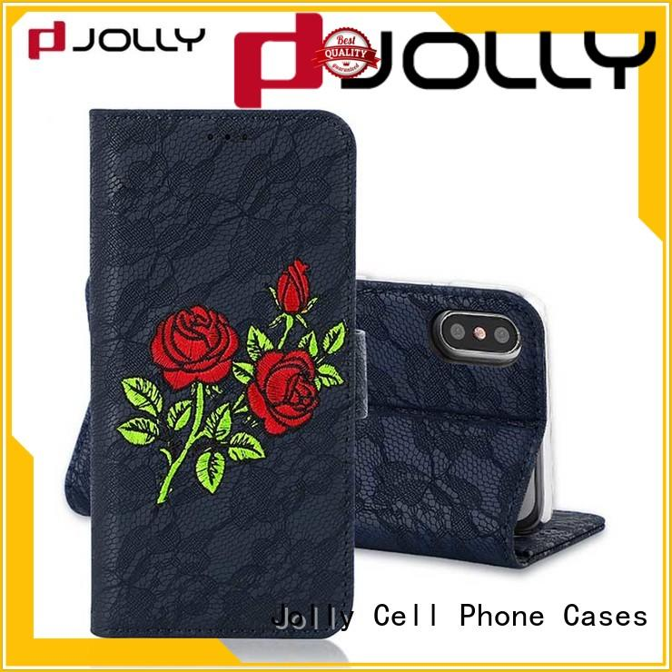 Jolly artificial universal smartphone wallet case with cash compartment for apple