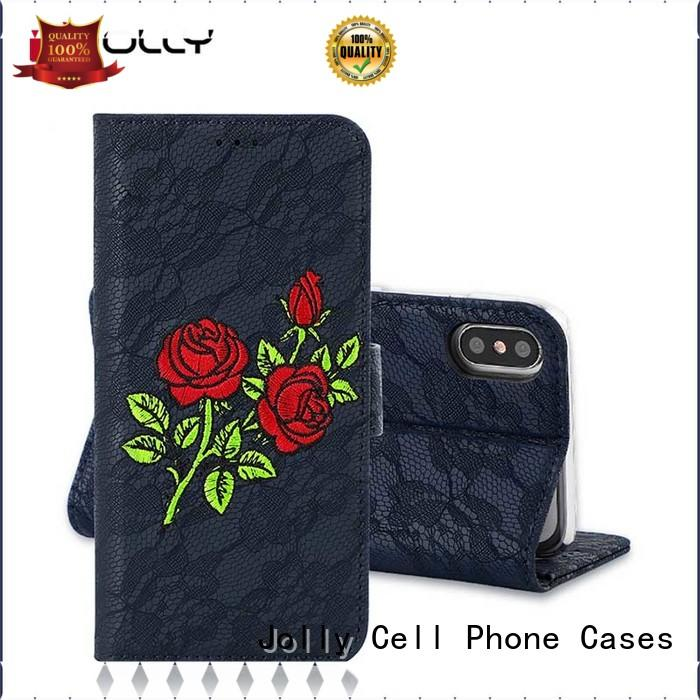 Jolly ladies purse crossbody cell phone wallet with printed pattern cover for iphone xs