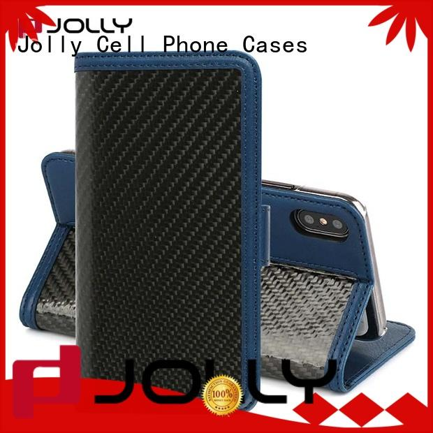 Jolly designer wallet phone case with rfid blocking features for mobile phone