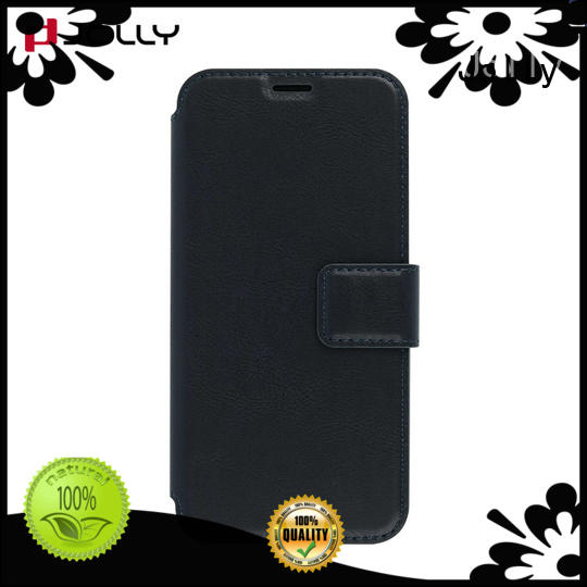 pu leather flip phone covers with slot kickstand for iphone xs