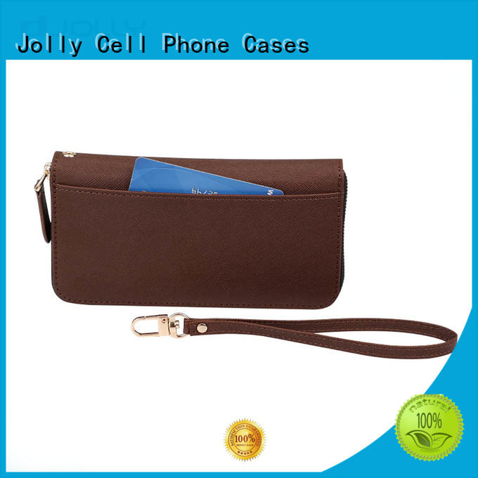 Jolly high quality leather cell phone wallet case supplier for apple