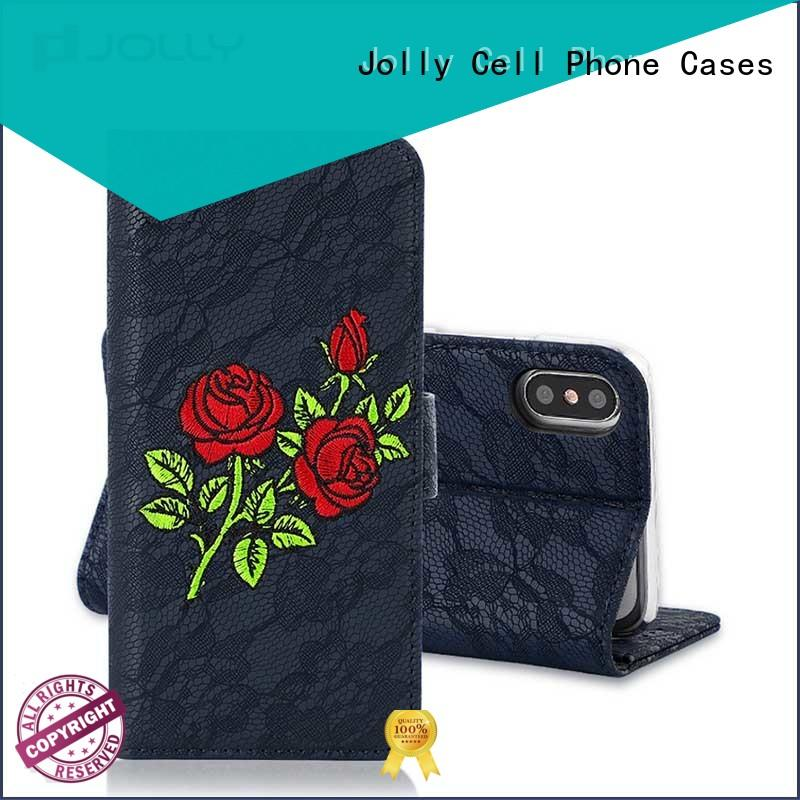 Jolly artificial wallet case with cash compartment for iphone xs